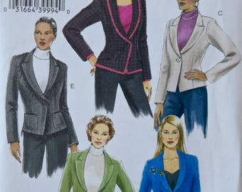 Vogue V8124 Sewing Pattern Misses' Lined Jacket Semi-Fitted Collar Variations, Shaped Hem - UNCUT Factory Folds Sizes 6-8-10 Basic Design