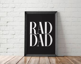Father Printable, Dad Gift, New Dad Gift, Rad Dad Printable, Dad Printable, Gift for Him, Cool Dad Gifts, Gift for Dad, Birthday Gift