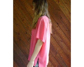 Hot Pink Silk s/s Blouse Top - Vintage 90s - XL
