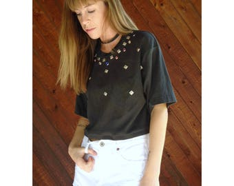 Jewel Studded Black s/s Crop Tee - Vintage 90s - M