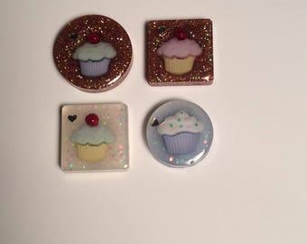 Glitter cupcakes magnet set