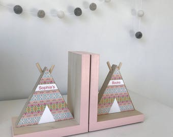 Aztec inspired TeePee Bookends, Coral and Mint