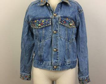 Vintage 80s 90s Bejeweled Denim Jacket Studded Rhinestone Boyfriend M