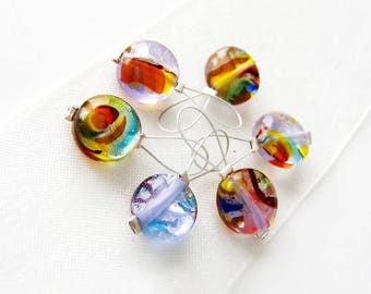NEW - Rainbow Brite - Five Snag Free Stitch Markers - Fits Up To 5.5 mm (9 US) - Limited Edition