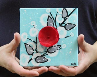 Cubicle Desk Decor Mini Canvas Art Painting of Flowers, Gift for Coworker, Aqua, Black and Red - Mini 6x6