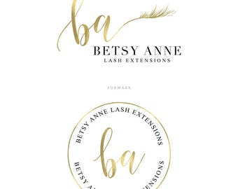 Eye Lash Logo Design Lash Extension Logo Gold Logo Make Up Artist Branding Package Watermark Lash Salon Logo Design OOAK Logo Premade Logo