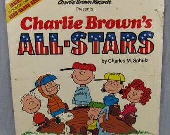 "Charlie Brown's All-Stars Record Vintage 12"" Vinyl LP Album 1978 Peanuts Read-Along Book"