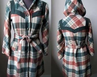 60's Adorible Mod Plaid Detailed Hooded Sashed Car Coat Jacket