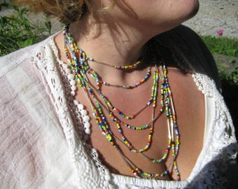 Rainbow and Silver Multiple Strain beaded necklace