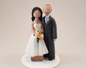 Short Bride & Tall Groom Custom Handmade Wedding Cake Topper