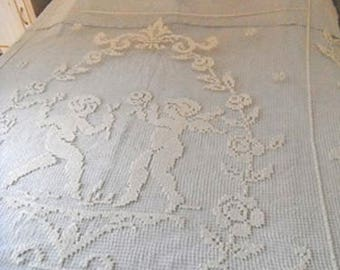 Antique French Lace Cherubs Bed Cover