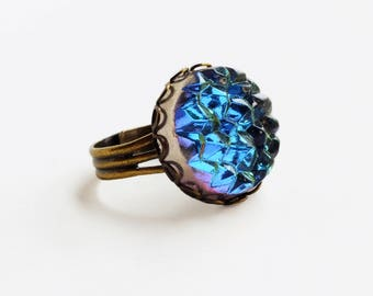 Iridescent Blue Purple Crystal Ring Large Vintage Glass Druzy Drusy Ring Bermuda Blue Iceberg Cabochon Ring Crystal Statement Jewelry