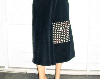 Black Velvet Skirt With Polka Dot Pocket Sz 6