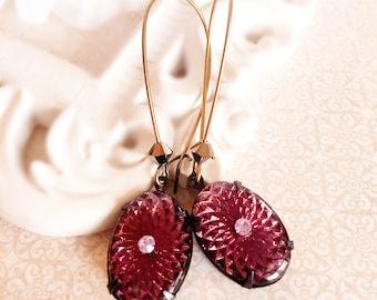 Vintage Purple Earrings - Purple Dangle Earrings - Art Nouveau Earrings - RADIATE Purple