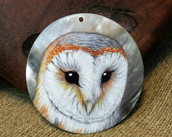 Barn Owl on the Shell Hand Painted