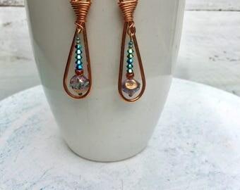 Copper drop earrings, turquoise, dangle earring, boho,