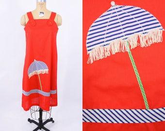 "1970s novelty dress | red fringe beach umbrella novelty cover up dress | vintage 70s dress | W 40"""