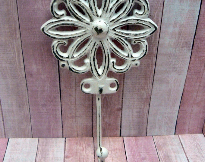 Floral Petal Cast Iron Hook Shabby Chic White Home Decor