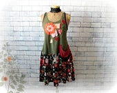 Rustic Casual Dress Upcycled Clothes Drop Waist Dress Floral Print Patchwork Patches Boho Women Dress Spring Sundress Eco Wear M 'LAUREL'
