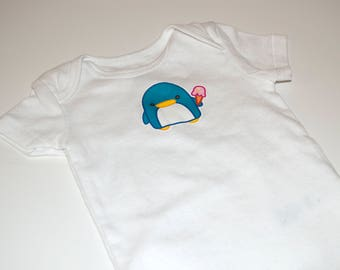 6m Short sleeves baby bodysuit with original penguin print