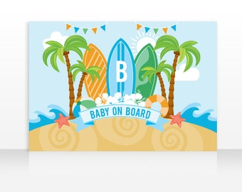Baby On Board Printable Banner Backdrop 60x40 inches, Surf Banner, Surfboard Backdrop, Surf Baby, HIGH RESOLUTION Digital File