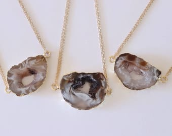Geode Necklace Gold, Crystal Necklace, Double Sided Geode Agate Slice, Druzy Pendant, Natural Pendant, Natural Stone, GDSN71