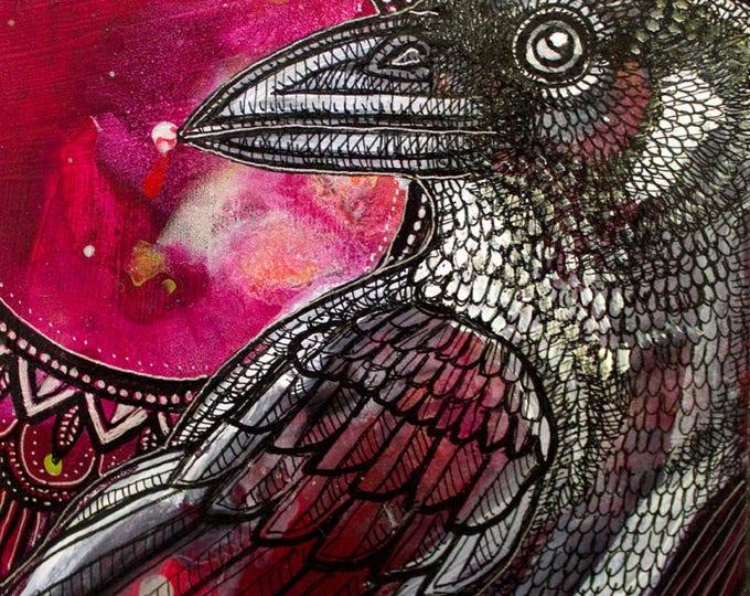 """Original """"Night Raven"""" Miniature Art by Lynnette Shelley"""