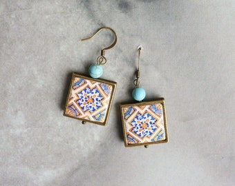 Earrings Portugal Tile Azulejo Portuguese Antique 17th Century Gold Blue FRAMED  Tomar  Santa Iria Church and Mercy Church in Constancia 733