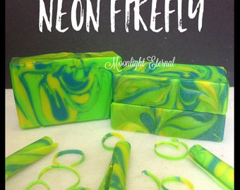 Neon Firefly Soap - Smells Like Tropical Coconut - Handmade Soap - Artisan Soap - Soap With Silk - Bar Soap