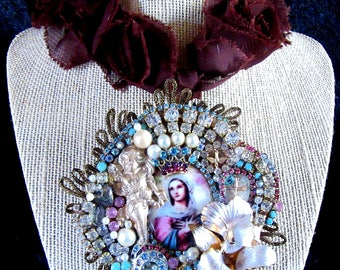 "Opulent Vintage and New Catholic Assemblage Virgin Mary Cameo ""Queen of Angels"" Religious Handmade Assemblage Altered Art Necklace"