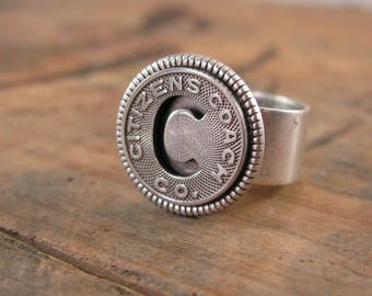 Transit Token Jewelry - Coin Jewelry - Coin Ring - Citizens Coach Co. of Little Rock, Arkansas - Initial C Token Ring - Personalized Ring