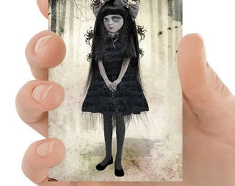 Spiders ACEO Card - Goth Girl Art - Girl And Spiders - Arachnophilia