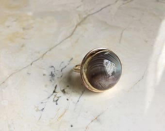 Round Banded Agate Ring. Sz 7. One of A Kind Ring. Statement Ring. Round Stone Ring. Gold Filled Ring. Modern Boho Ring. Gray stone.