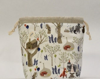 Foxtail Forest Party Small Drawstring Knitting Project Craft Bag - READY TO SHIP