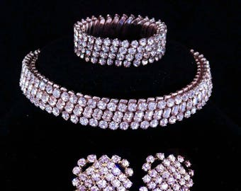 Vintage Rhinestone parure / 1/20th 10kt white gold top / expansion choker and bracelet / dog collar / wedding set / rhinestone earrings