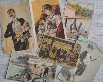 Antique Victorian Advertising Trade Cards Soap Shoes Tea