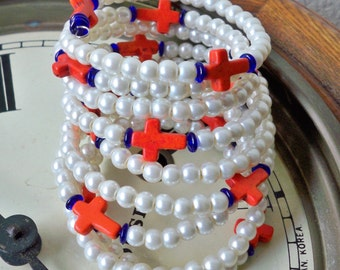 Pearl Wrap Bracelet - Coral orange crosses - Blue beads - Florida Gator colors - College colors - Memory wire - bycat
