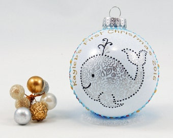 Baby's First Christmas ornament - Personalized hand painted glass ornament - Cute whale