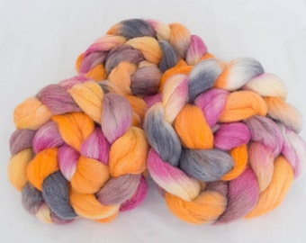 Hand dyed top, Baby Alpaca, BFL, Tussah Silk, Silk, fibre, tops, spindling, handspinning, felting projects, felting material