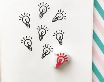 tiny light bulb rubber stamp | eureka | planner stamp | diy art journal | card making | craft gift for teacher | hand carved by talktothesun