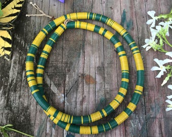 Green & Yellow : 8mm Vintage Vinyl Record Beads from Africa, Vulcanite / African Beads, Boho Jewelry, Heishi Beads, Bohemian, Tribal Jewelry