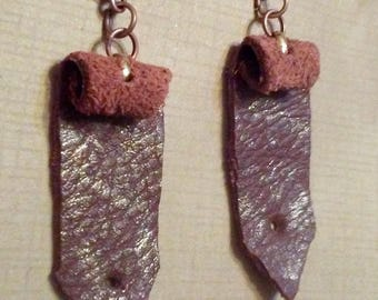 Leather and Copper Post Earrings