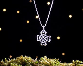 Sterling Silver Celtic Hearts Four-Leaf Clover - (Charm, Necklace, or Earrings)