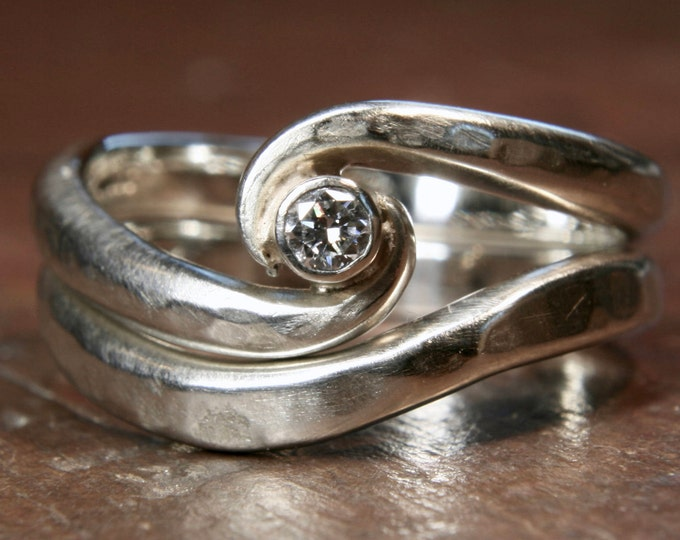 Recycled silver 'Twist' wedding ring set.