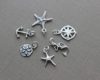 Add a 925 sterling silver beach charm to any sterling necklace or bracelet in my shop