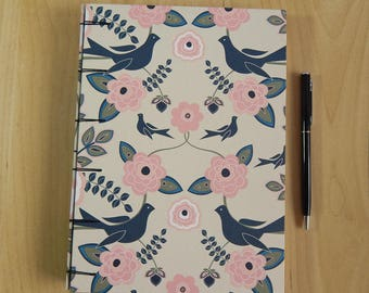 Birds and Flowers Sketchbook Journal with Belgian Binding. Art journal, bullet journal.  Gifts for Artists, for Writers