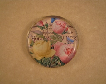 Rose Paperweight, Under 15 Dollars, Floral Paperweight, Pink and Yellow Rose, Mini Round, Glass Paperweight, June Birthday, Desk Accessory