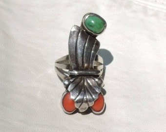 turquoise coral sterling ring size 5 1/2 handmade ring
