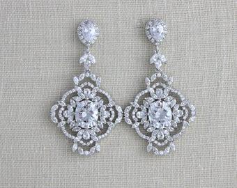 Bridal earrings, Crystal earrings, Wedding jewelry, Chandelier earrings, Statement earrings, Vintage style, Rose gold earrings, MADISON