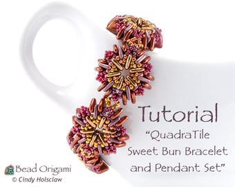 TUTORIAL - Quadratile Sweet Bun Set with 4-hole beads - PDF Pattern Only